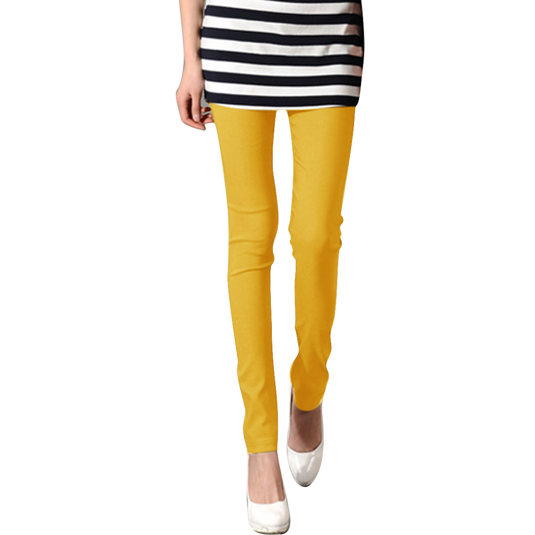 XS Yellow Slim Fit Design Solid Color Form-fitting Hip Tight Women Legging