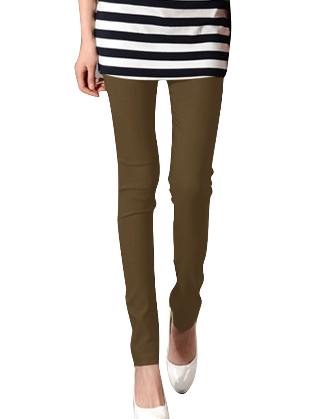 Dark Khaki XS Form-fitting Full Length Slim Fit Casual Legging for Ladies
