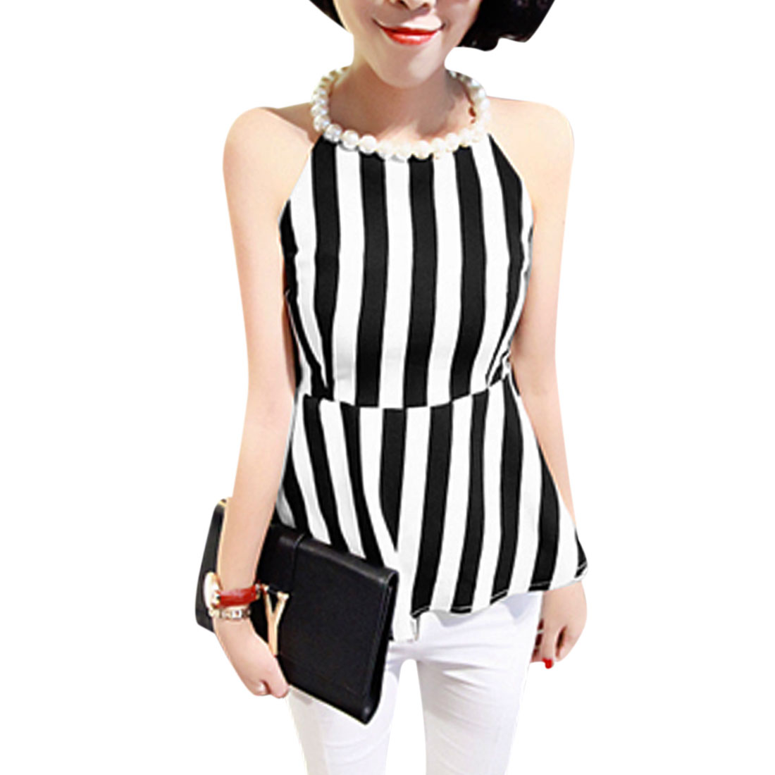 Woman Fake Pearl Necklace Decor Vertical Striped Black White Peplum Tops XS