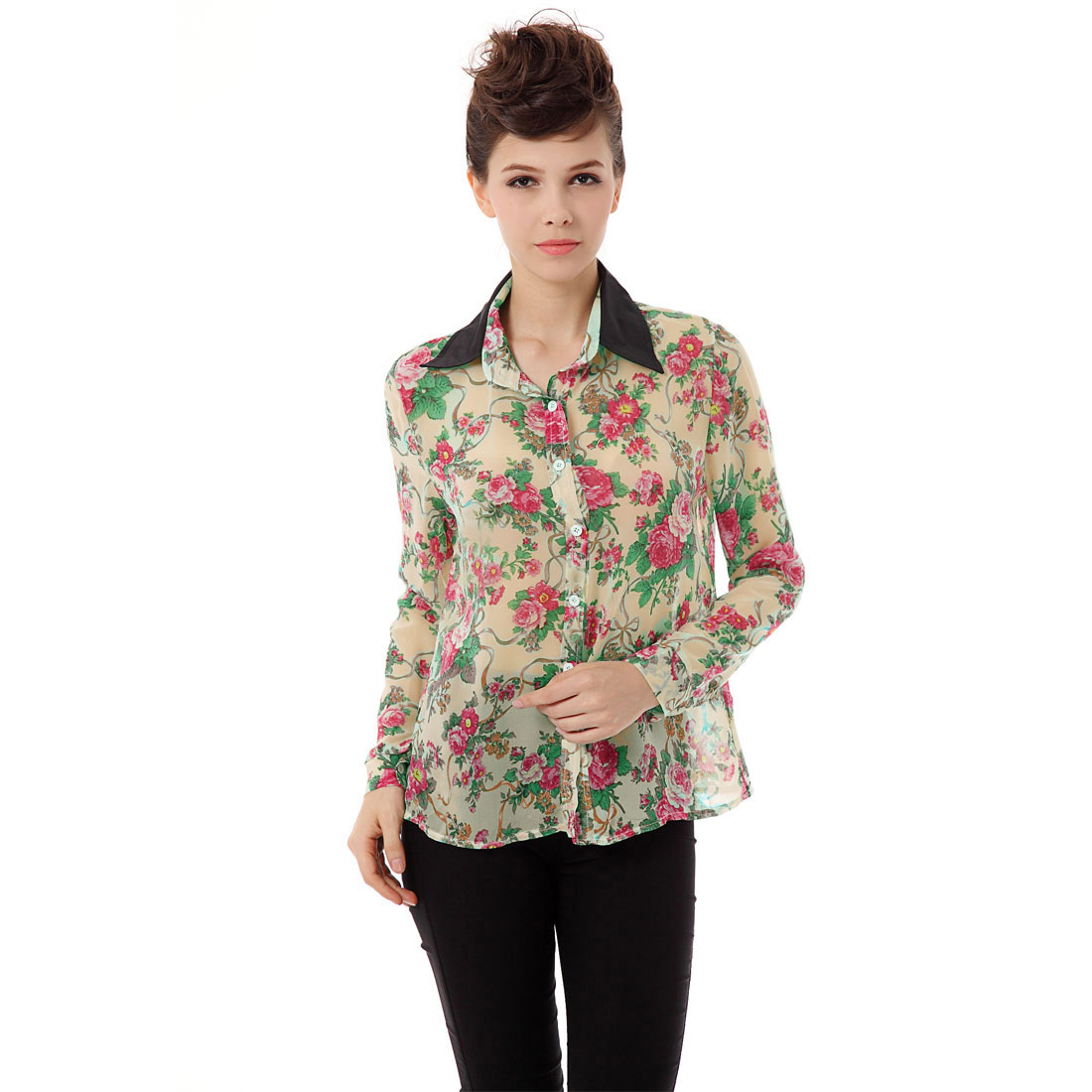 Ladies Chic Point Collar Long Sleeve Floral Pattern Beige Blouse XL