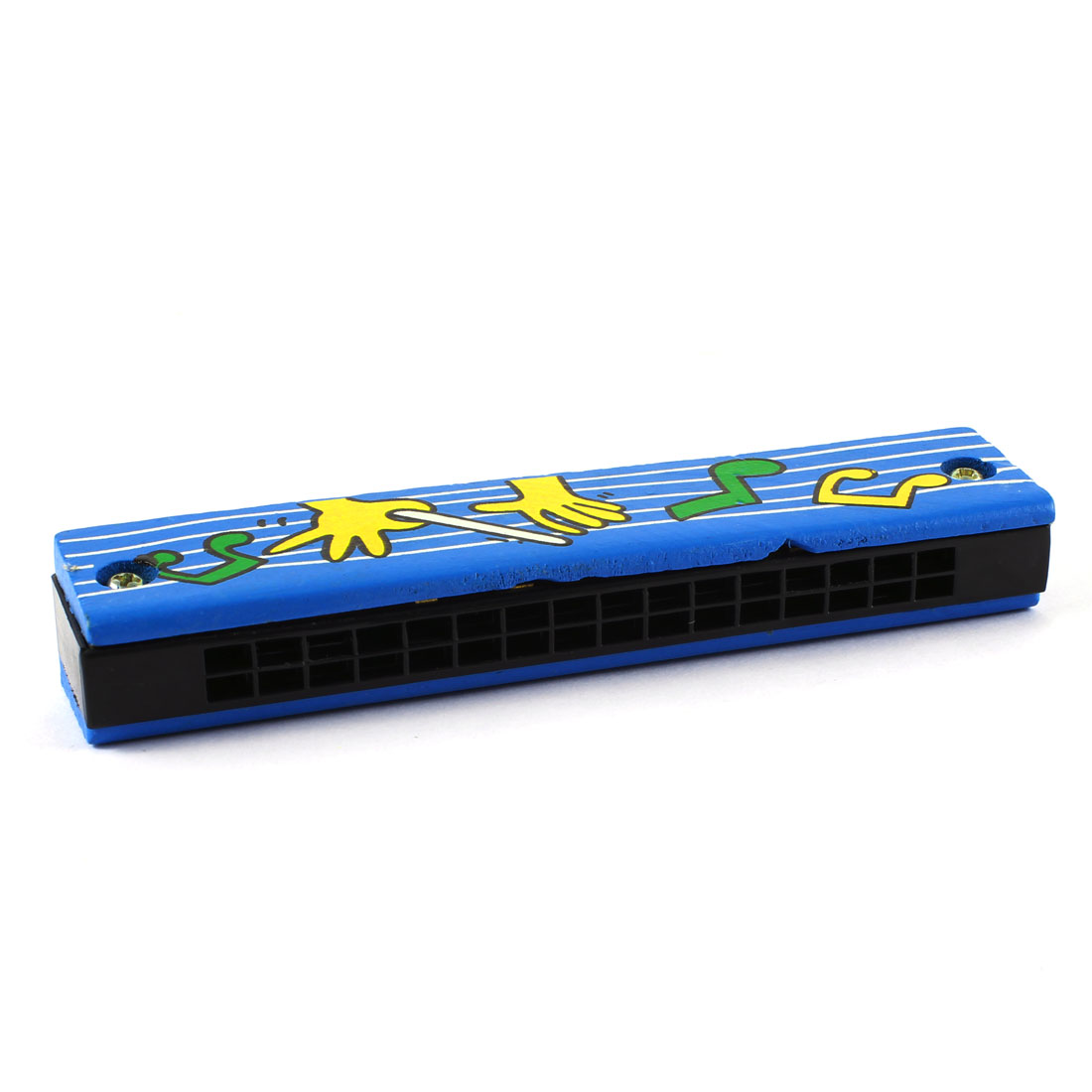 Child Music Symbol Print Wood Dual Rows 16 Hole Harmonica Mouth Organ Blue Green