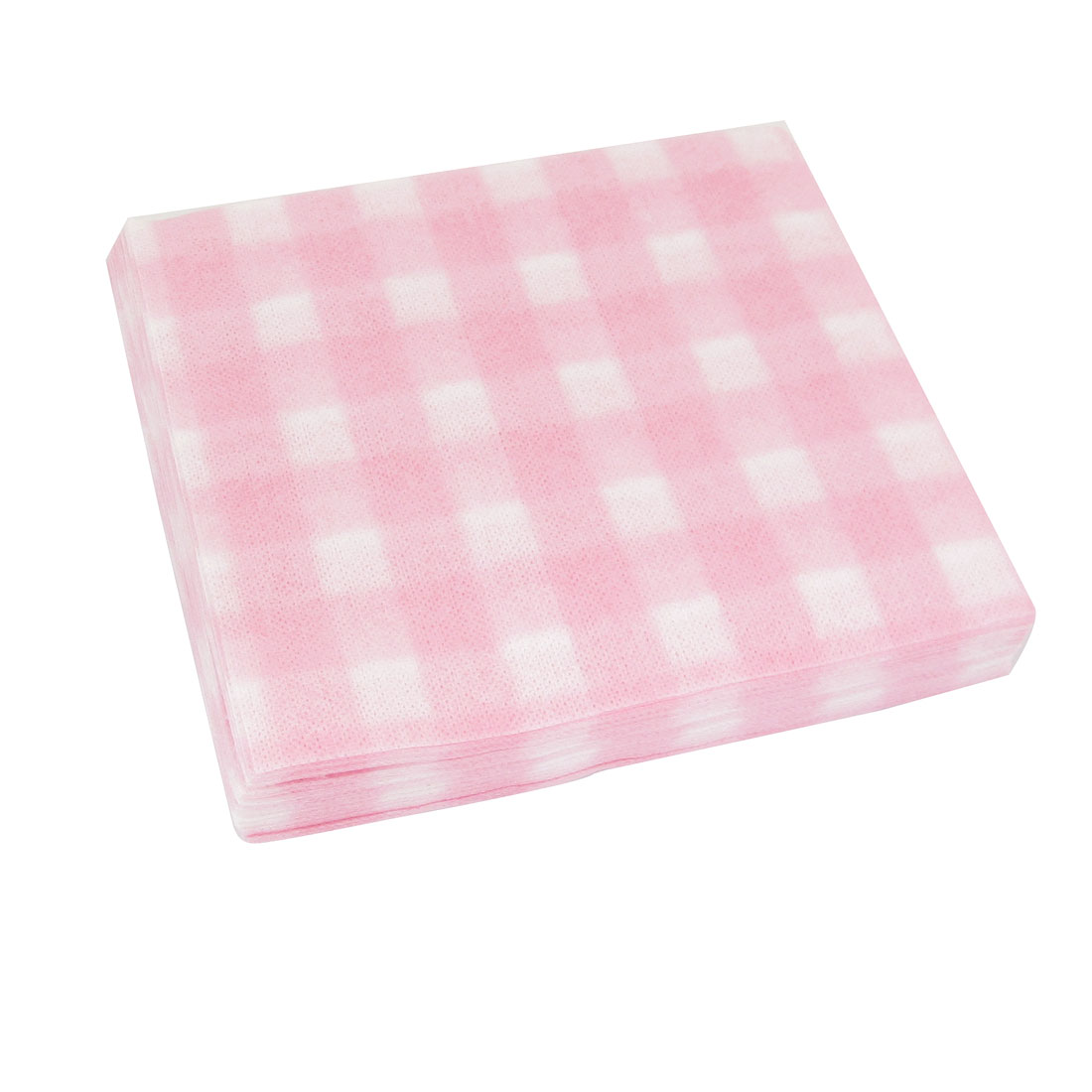 65 Pcs Disposable White Pink Check Pattern Plant Fibre Facial Towel