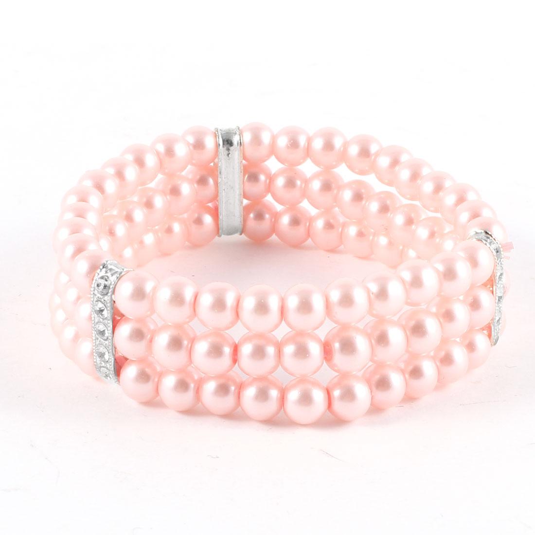 Women Tri Rows Imitation Pearl Rhinestones Detail Stretchy Wrist Bracelet Pink