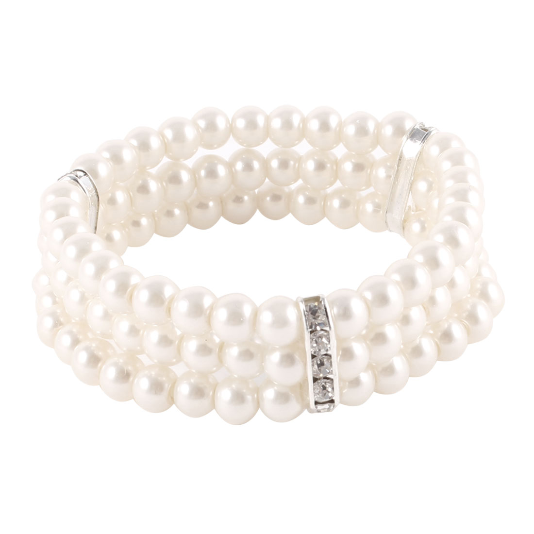 Ladies 3 Rows Faux Pearls Accent Off White Stretch Wrist Bracelet Jewelry