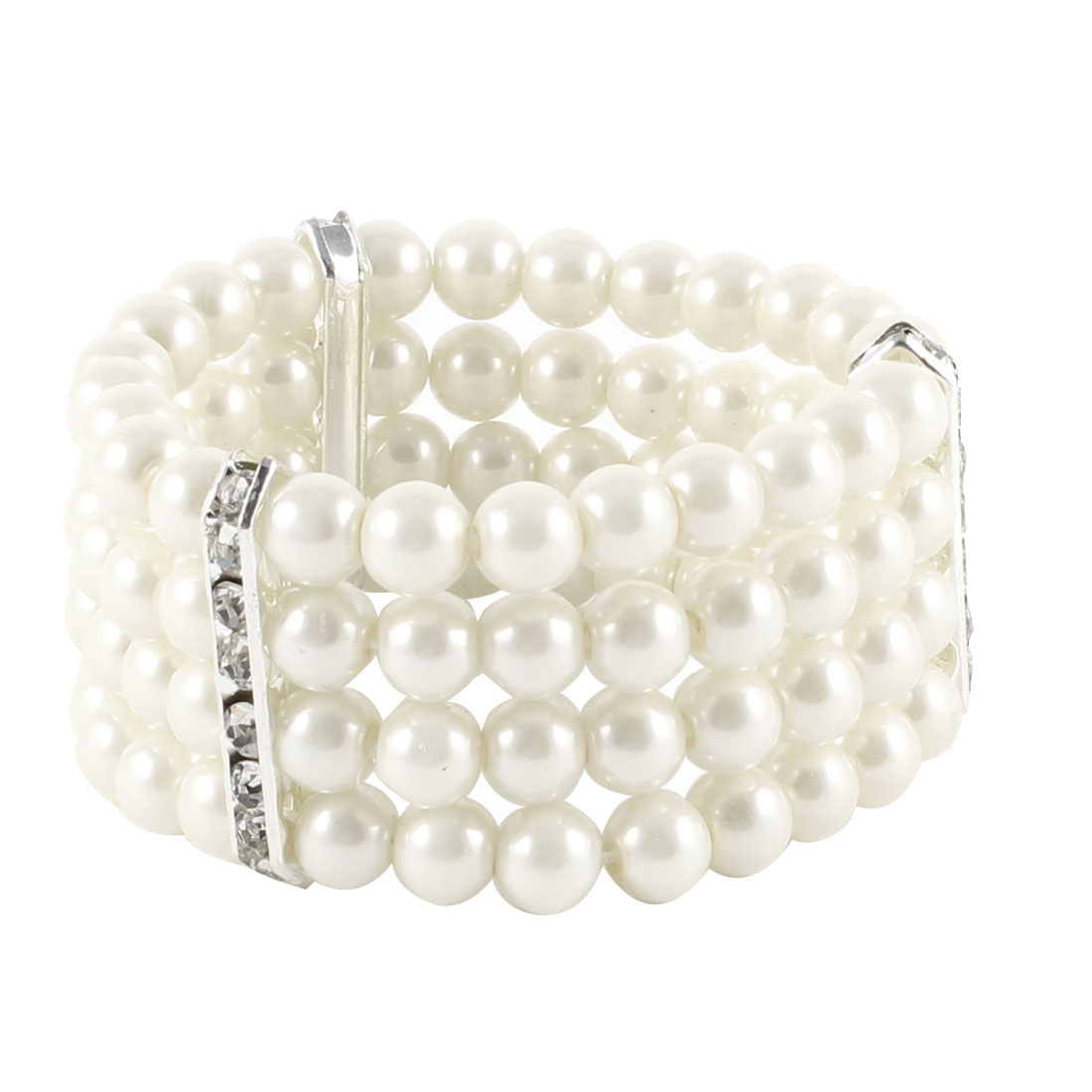 Ladies Jewelry 4 Rows Imitation Pearls Bead Decor Elastic Bracelet Bangle Off White