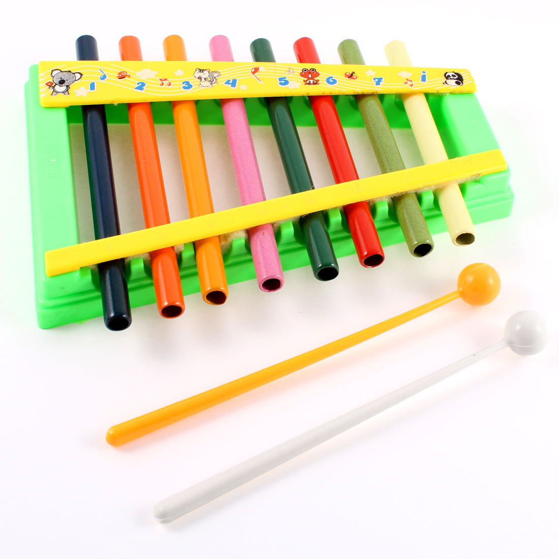 Child Green Plastic Frame 8 Tone Beat Percussion Piano Toy w Sticks