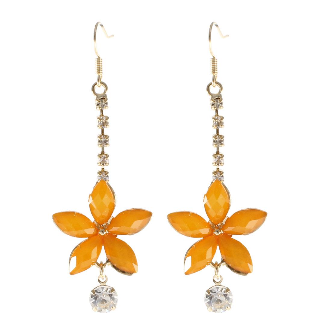 Pair Gold Tone Orange Plastic Beads Rhinestones Decor Floral Fish Hook Earrings