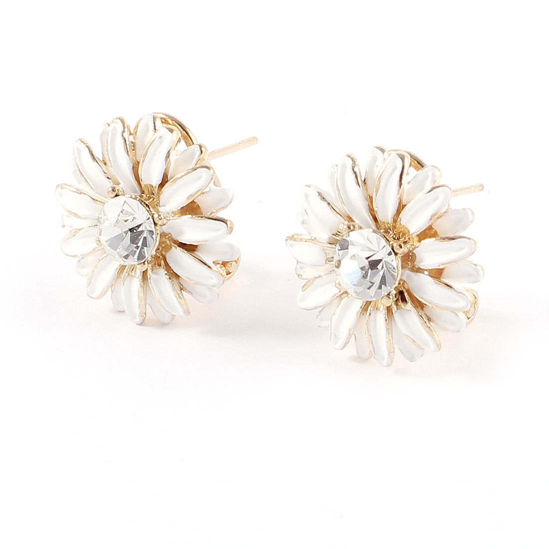 Rhinestone Inlaid White Floral Metal Mini French Clip Earrings Stud Pair