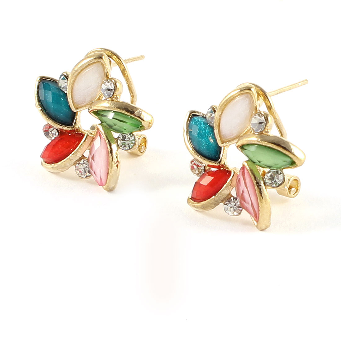 Pair Rhinestones Inlaid Metal Colorful Flower French Clip Earrings Stud