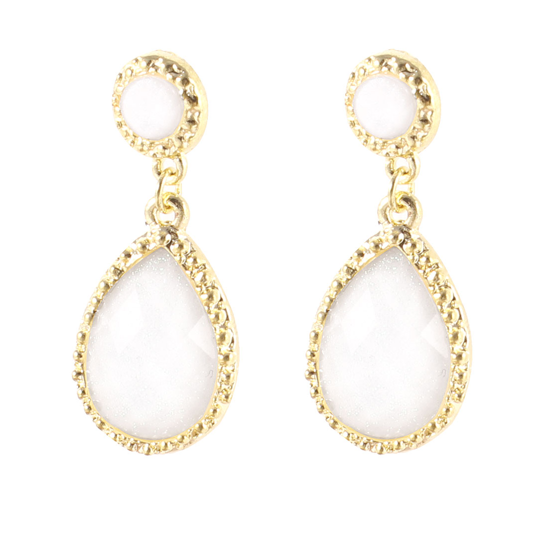 Off White Plastic Bead Decor Waterdrop Pendant Stud Earrings Earbob Pair