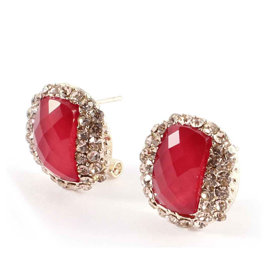 Women Red Faceted Beads Rhinestones Accent Round French Clip Earrings Stud Pair
