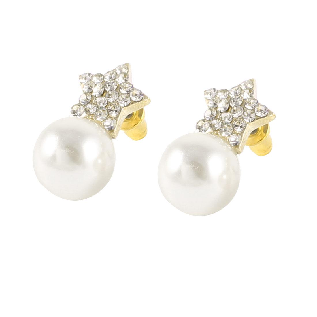 Glitter Rhinestones Inlaid Pentagram Faux Pearl Dangle Stud Earrings Off White Pair