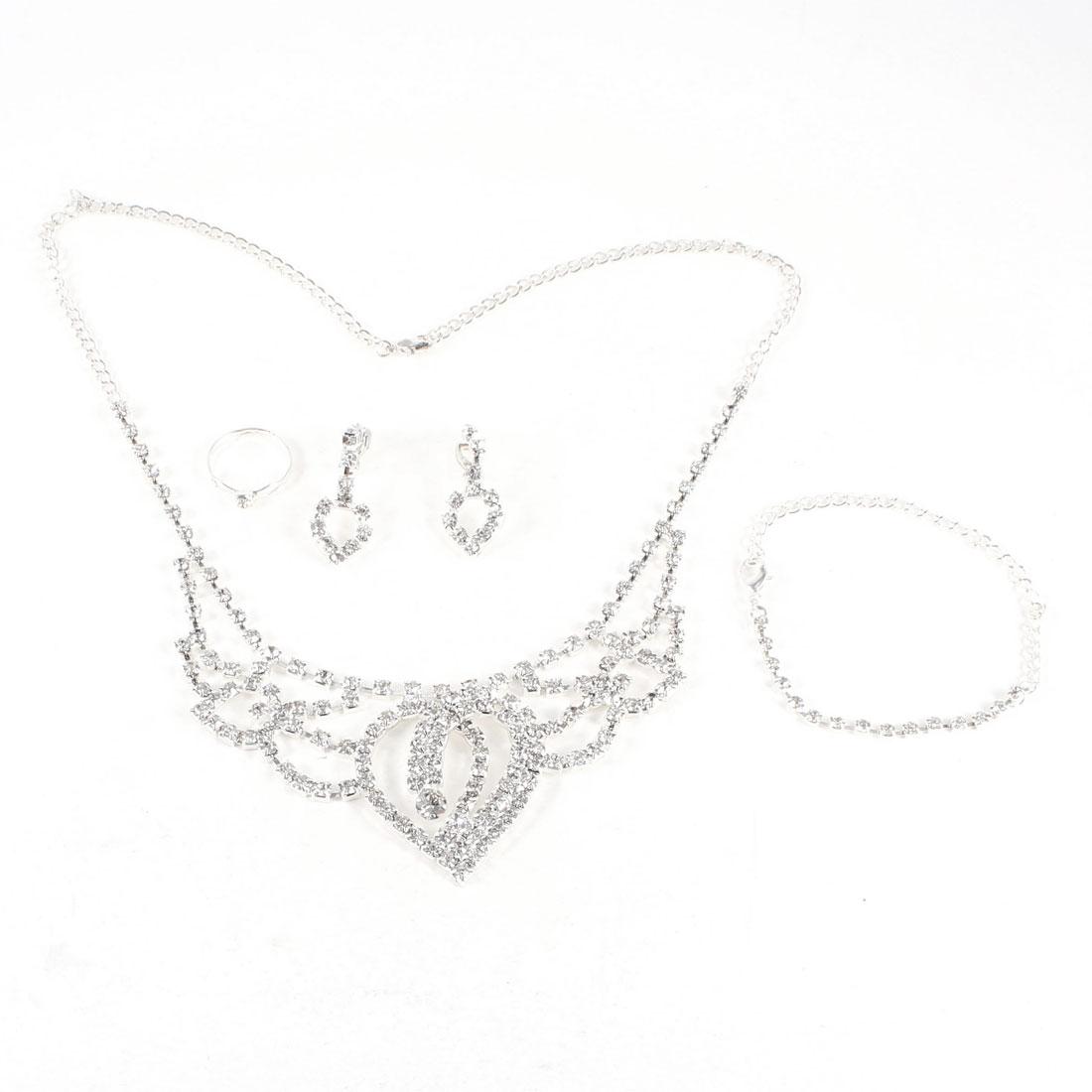 Women Bride Bling Rhinestones Heart Dangle Necklace Finger Ring Bracelet Jewelry 4 in 1