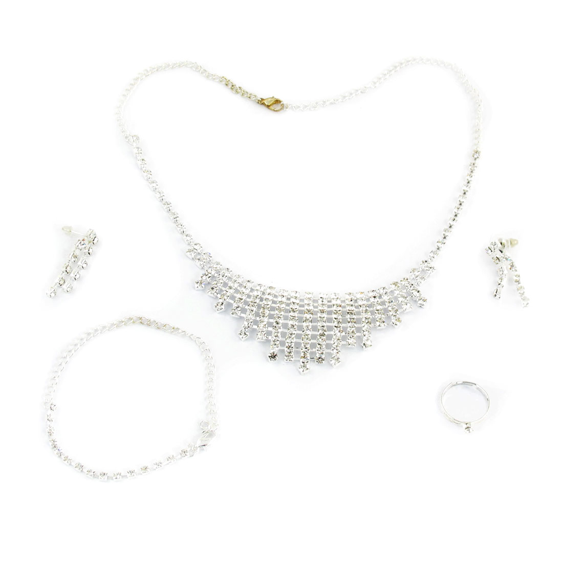 Wedding Ladies Shiny Rhinestones Dangling Necklace Bracelet Finger Ring Jewelry 4 in 1