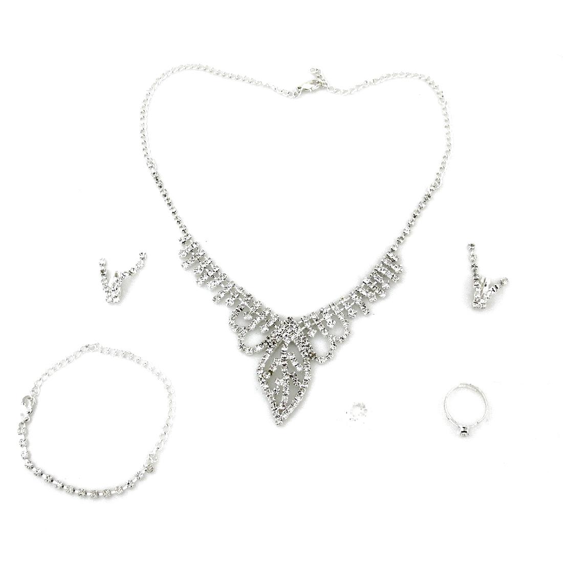 Woman Adjustable Glistening Rhinestones Bracelet Necklace Clip Earrings Jewelry 4 in 1