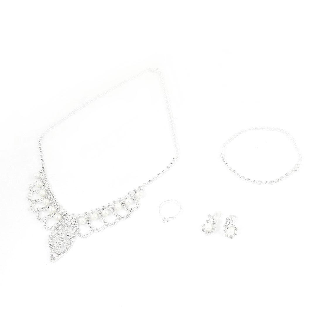 Bridal Women Imitation Pearl Rhinestones Dangle Necklace Clip Earrings Jewelry Set 4 in 1