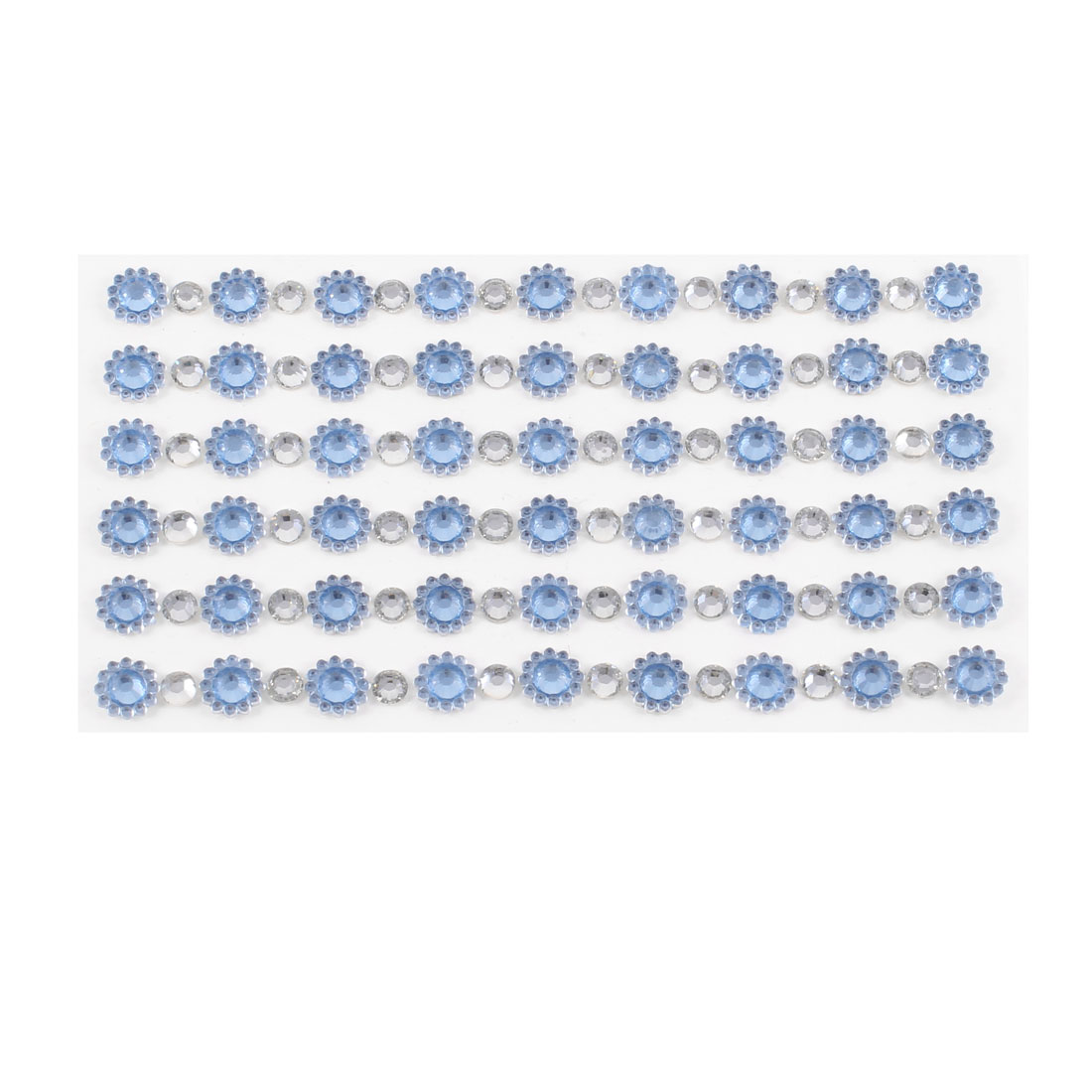 Light Blue Shiny Rhinestones Floral Auto Car Phone Sticker Decoration 6 in 1