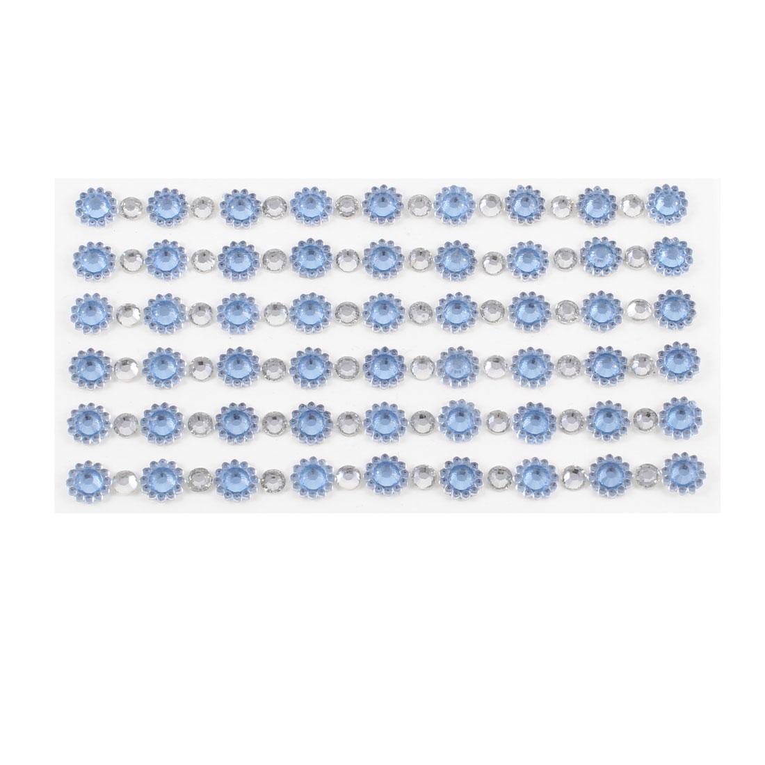 Light Blue Shiny Rhinestones Floral Auto Car Phone Sticker Decoration 6 in 1