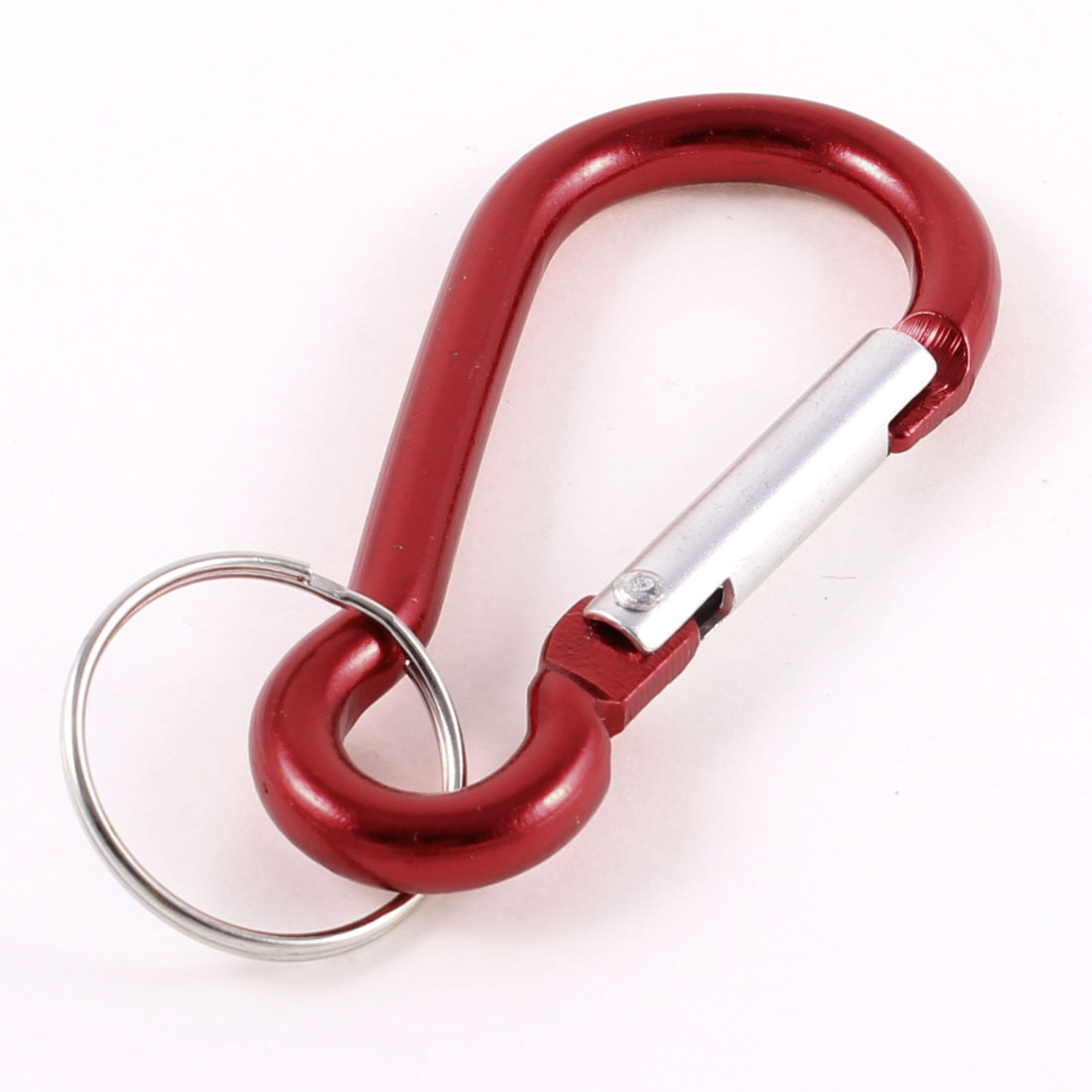 "2.8"" Long Burgundy Aluminum Alloy Spring Clip Carabiner Hook Keychain"