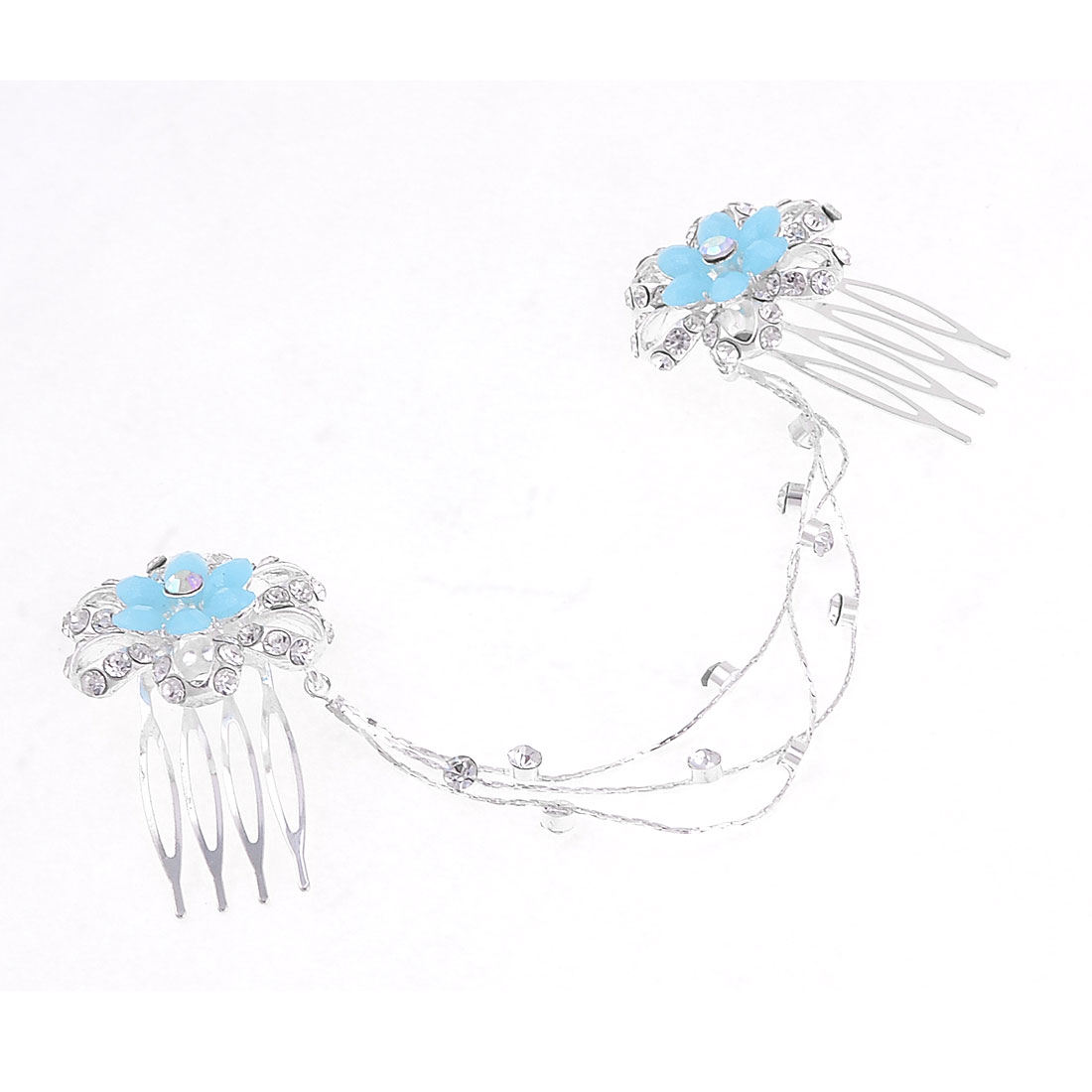 2 in 1 Glittery Rhinestones Inlaid Metal Flower Hair Prong Clip Comb for Women