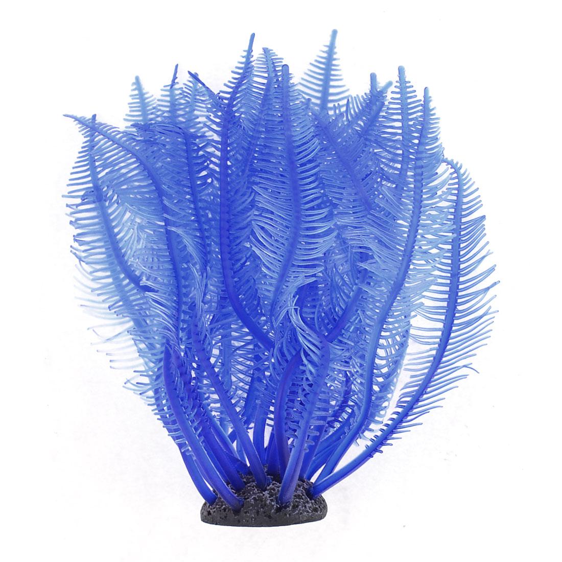 Aquarium Fish Tank Decor Plants Soft Plastic Blue Sea Anemone