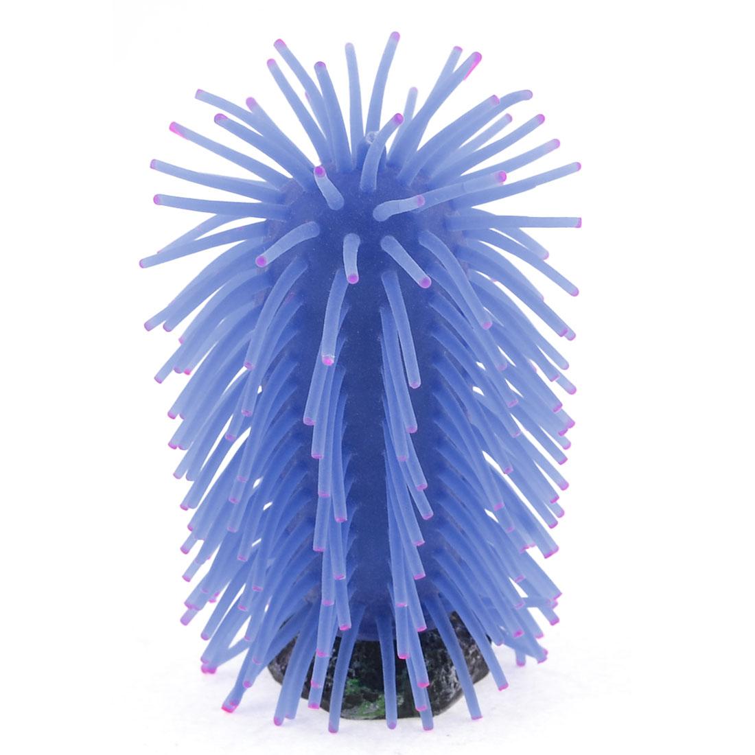 Fish Tank Manmade Fuchsia Dot Blue Soft Silicone Coral Anemone Ornament