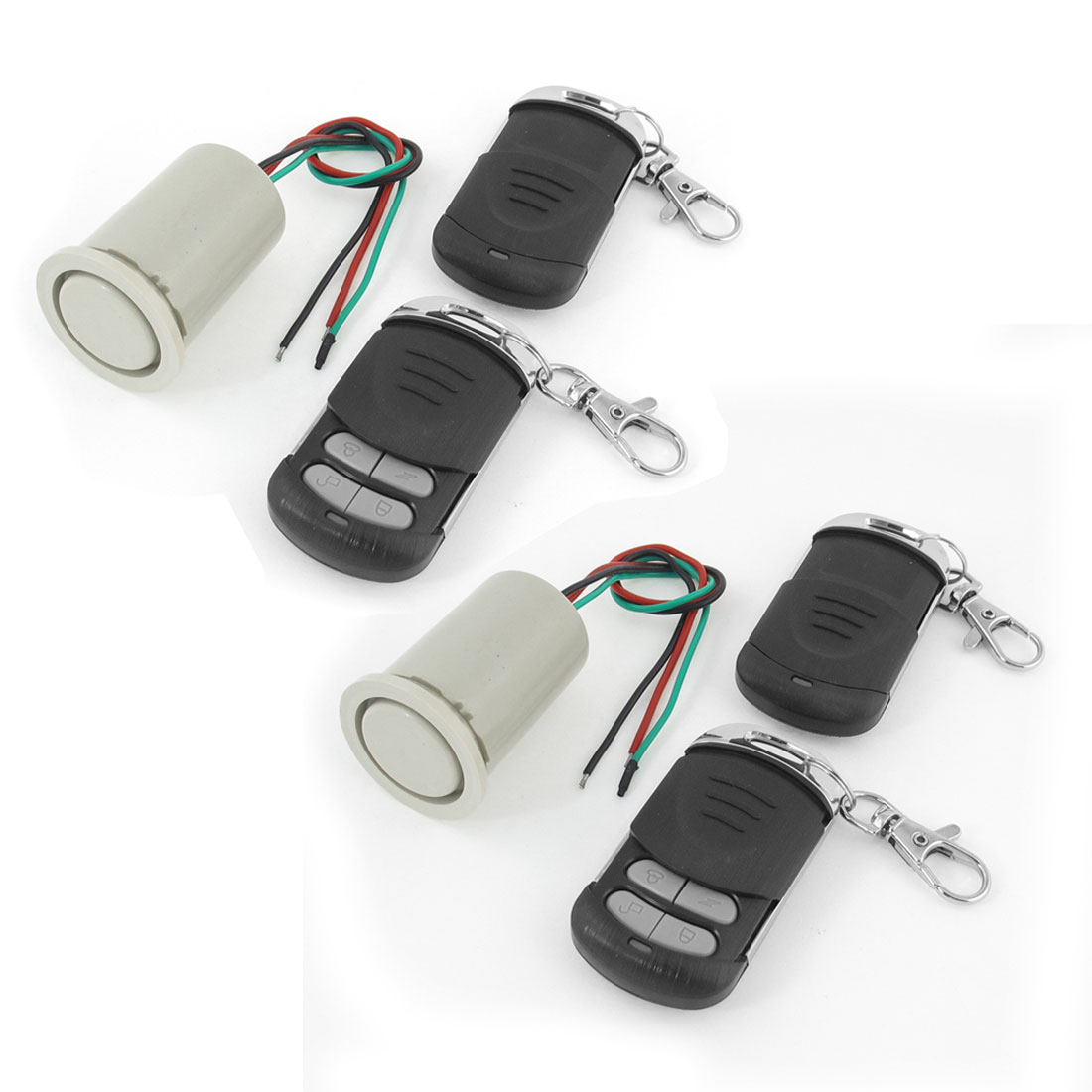 2 Pcs Electronic Motorcycle Alarm + 4 Pcs Lobster Clasp Remote Control Key