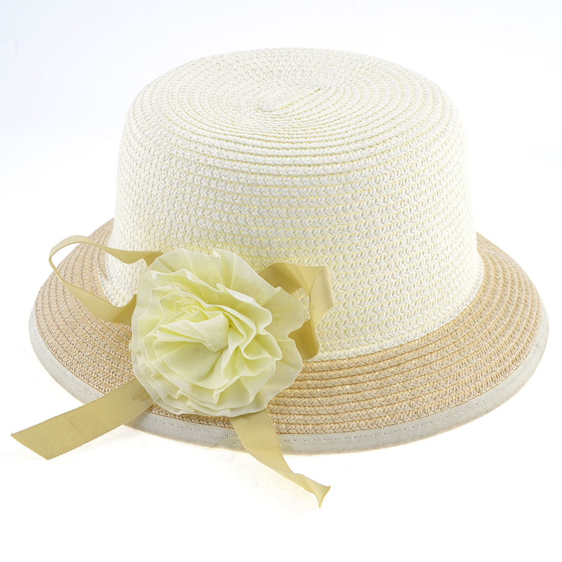 White Beige Flower Decoration Fedora Hat Cap for Girls Ladies