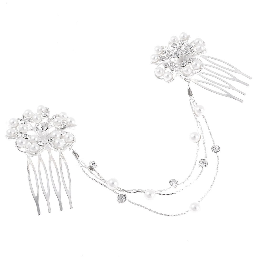 Metal Flower Silver Plated Chain Imitation Pearls Wedding Prom 2 Hair Comb Pin