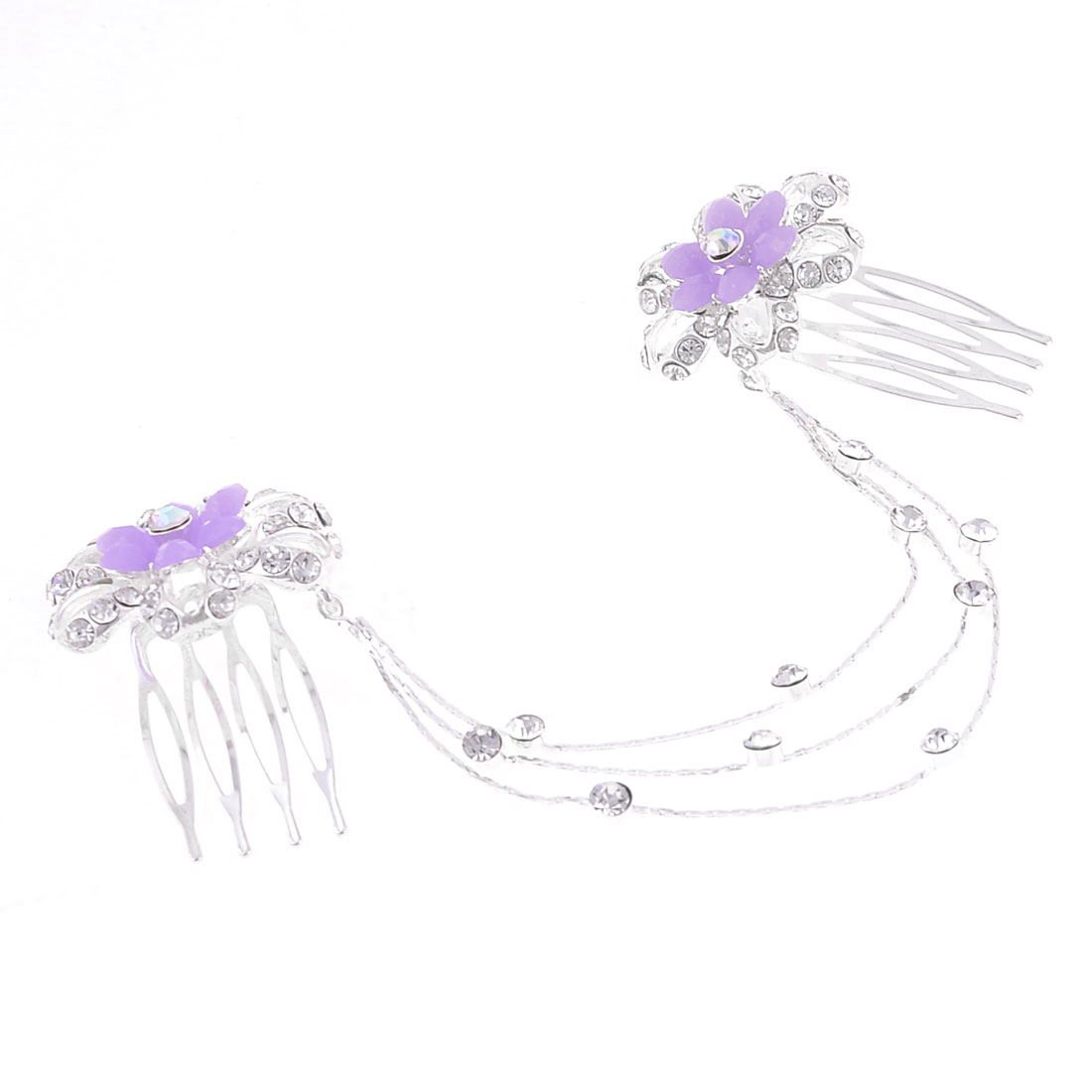 Slim Chain Linked Purple Silver Tone Flower Accent Hairclip Comb for Ladies