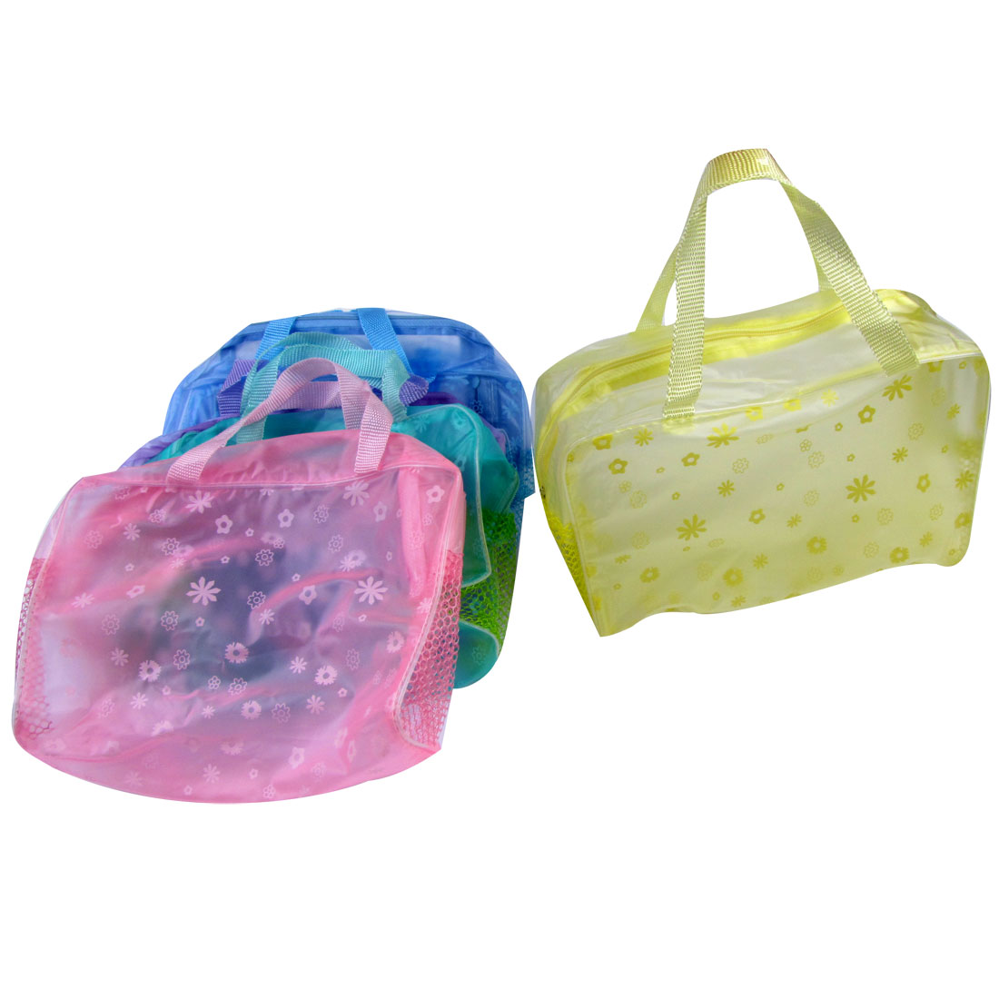 5 Pcs Travel Plastic Frame Flowers Pattern Colorful Zipper Cosmetic Makeup Bag