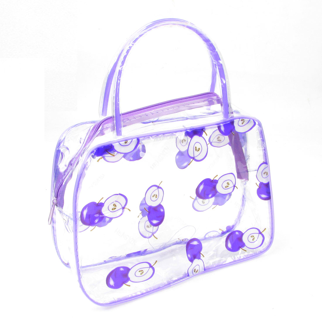 Lady Portable Apple Print Purple Clear Plastic Cosmetic Makeup Bag Case
