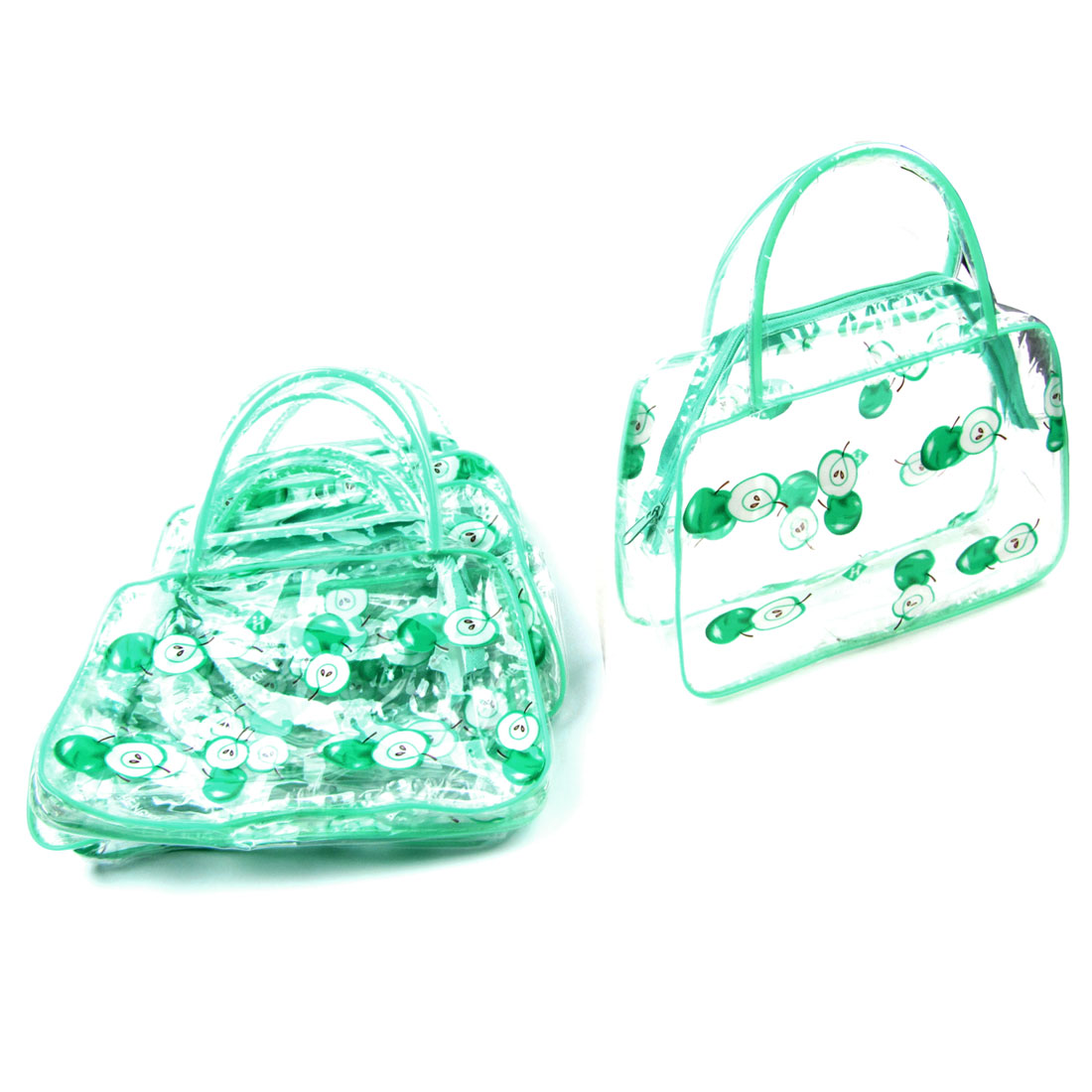 5 Pcs Lady Portable Apple Print Light Green Clear Plastic Cosmetic Makeup Bags