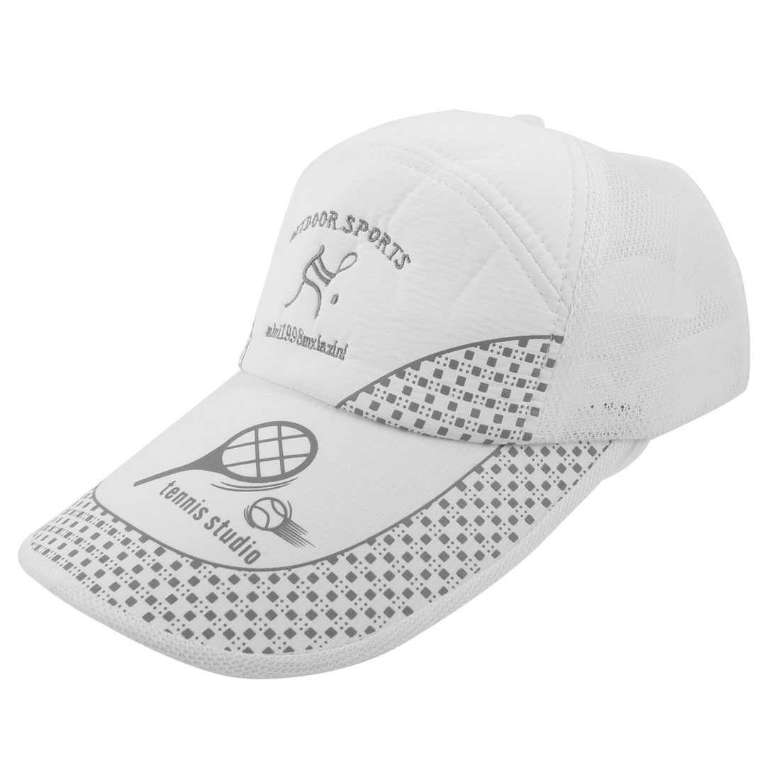 Unisex Letter Pattern Adjustable Sports Tennis Headwear Peaked Cap Hat White