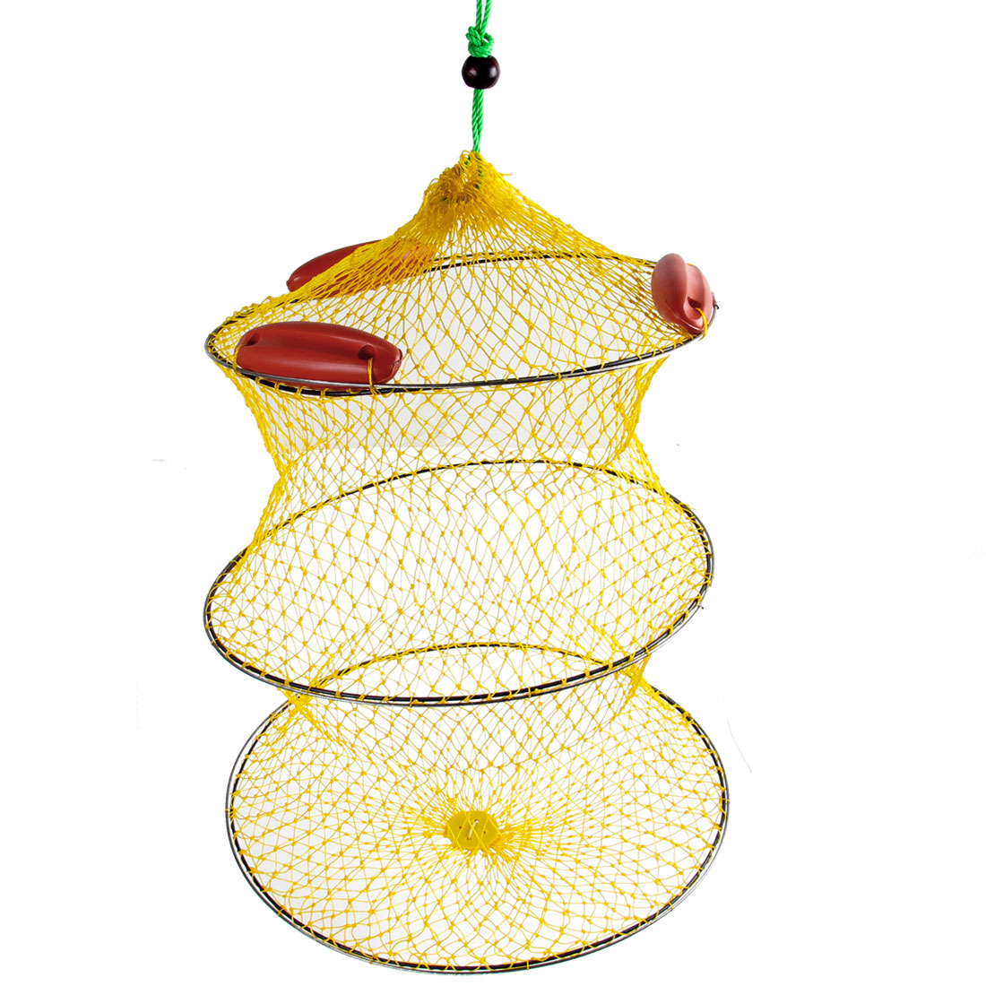"Yellow 3 Layers 18"" Length Foldable Crab Shrimp Fish Keep Fishing Net"