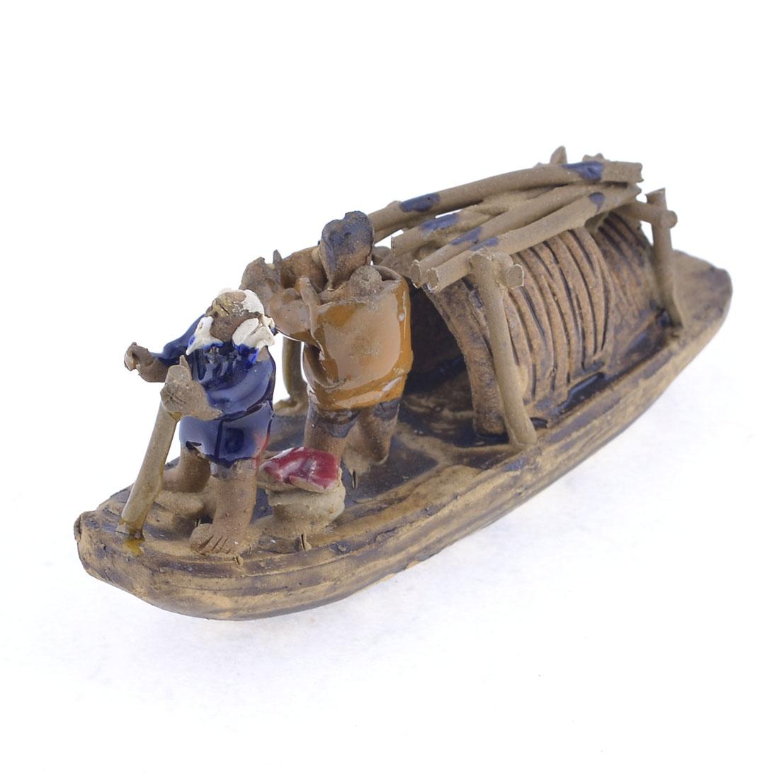 Handmade Lacunal Base 12.5cm Long Couple Fishman Ceramic Craft Boat Ship