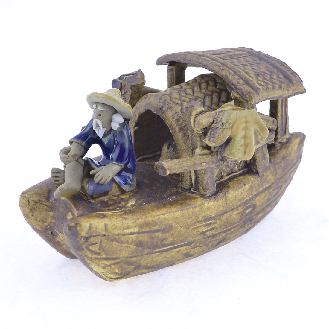 Handmade Manmade 6cm High Coffee Color Ceramic Craft Boat Old Fisherman Decoration