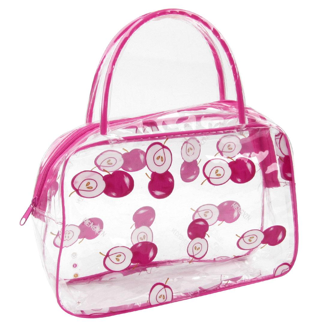Women Apples Print Zipper Closure Cosmetic Bag Organizer Pink Clear