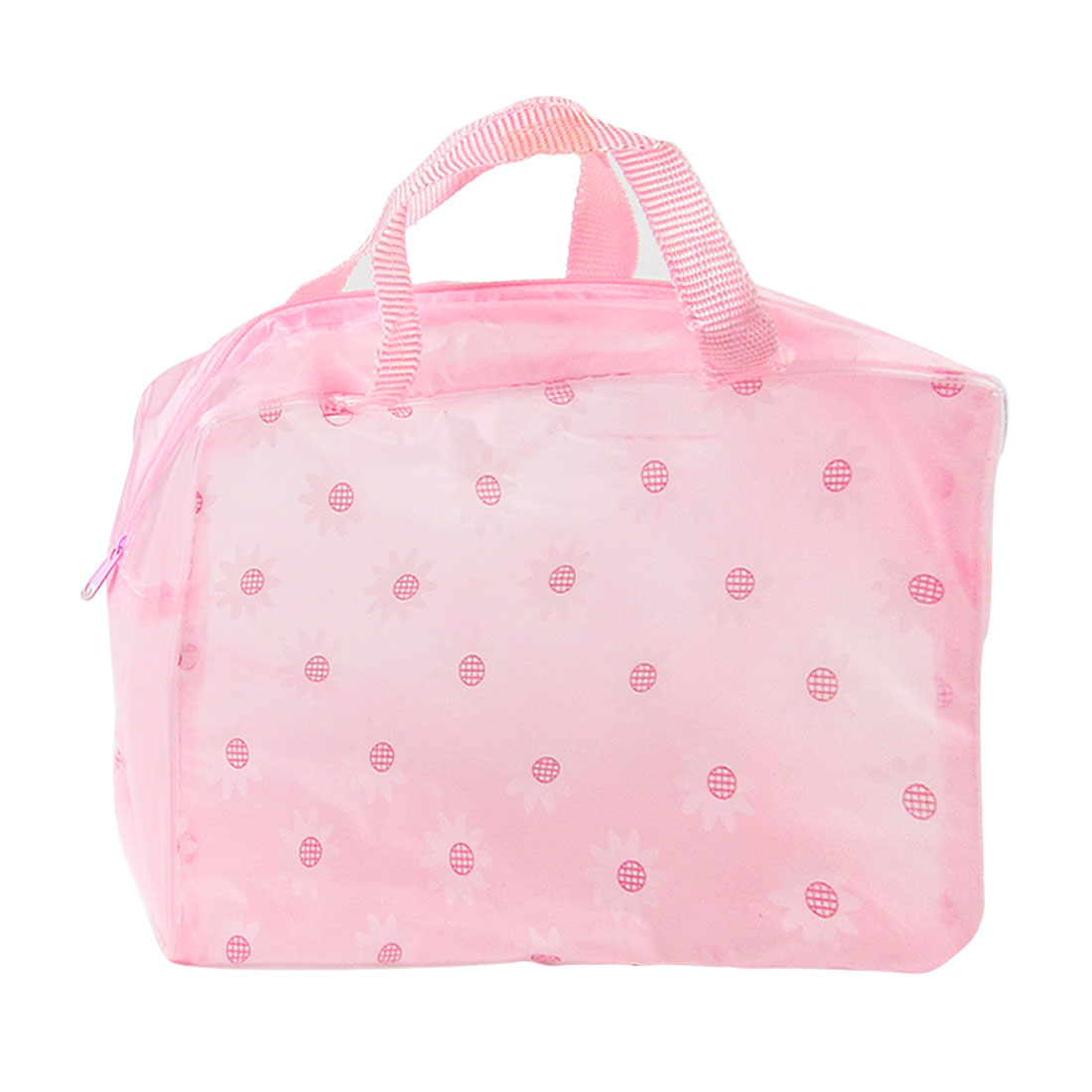 Lady PVC Portable Cosmetic Makeup Bag Travel Accessory Organizer Light Pink