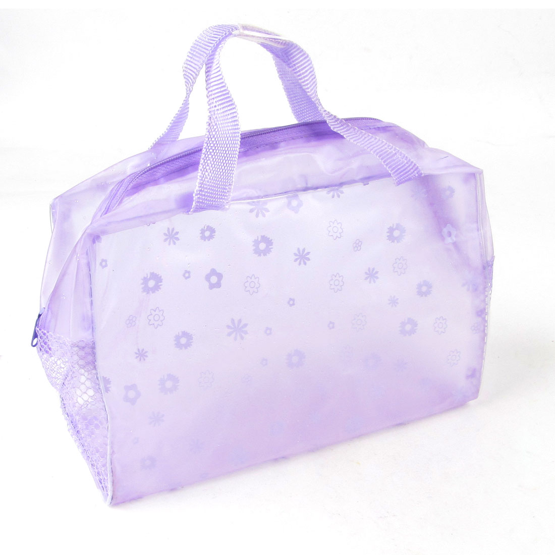 Daisy Pattern Purple Soft Plastic Meshy Side Zip Up Transparent Cosmetic Bag