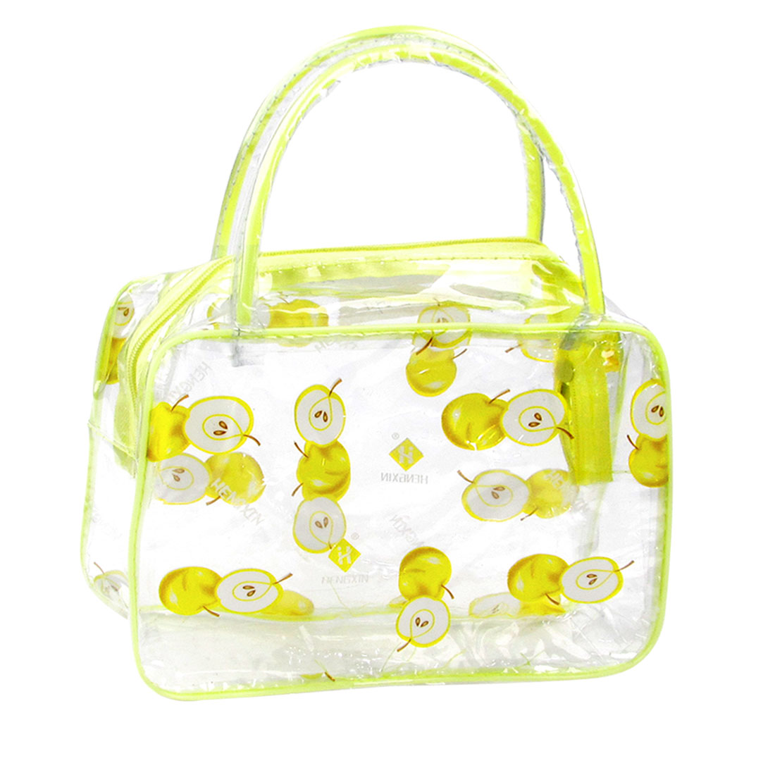 Travel Appple Pattern Makeup Cosmetic Bag Case Light Yellow Clear for Ladies