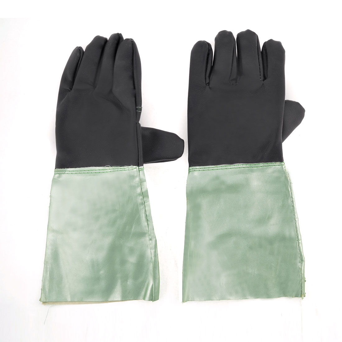 Pair Black Light Green Faux Leather Grill Work Welding Gloves