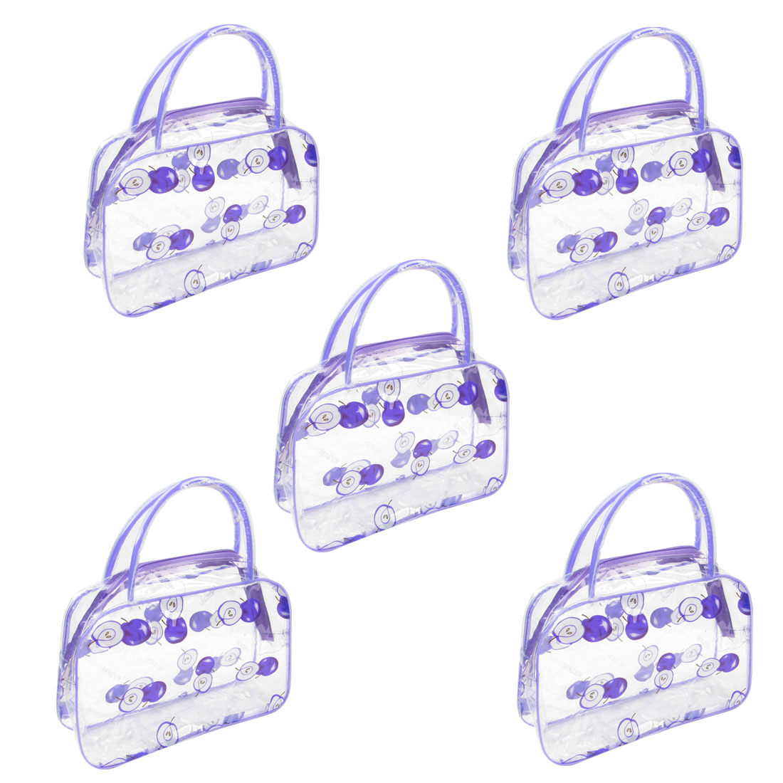 5 Pcs Travel Appple Pattern Makeup Cosmetic Bag Case Purple Clear for Lady