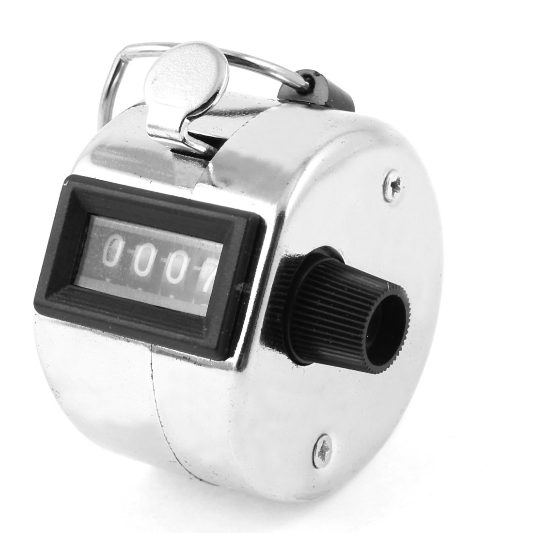 Silver Tone Case Reset Knob 4 Digits Hand Tally Counter w Finger Ring