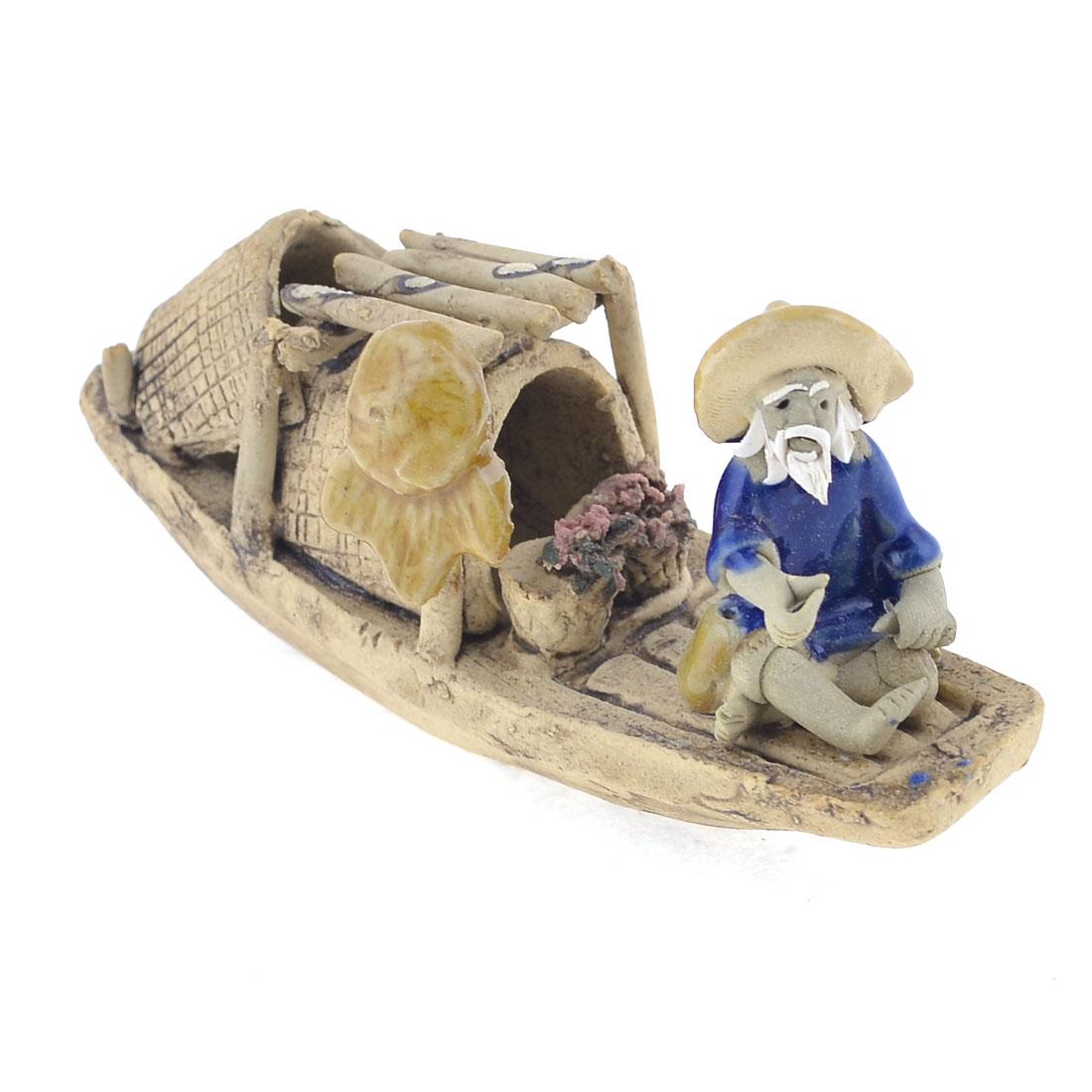 Handmade Fishman Fishboat Shaped 10cm Long Ceramic Craft Boat Decor