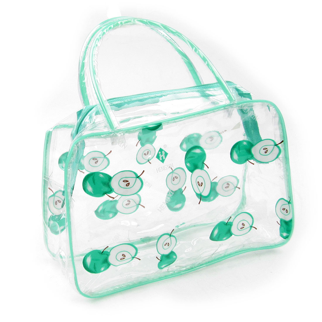 Lady Portable Apple Print Light Green Clear Plastic Cosmetic Makeup Bag Case
