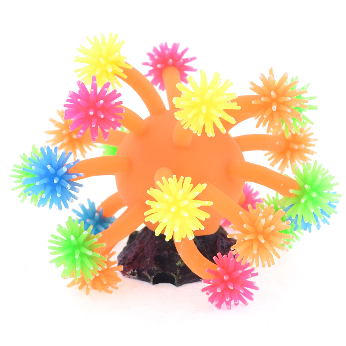 Orange Body Colorful Tentacle Aquarium Soft Plastic Coral for Fish Tank
