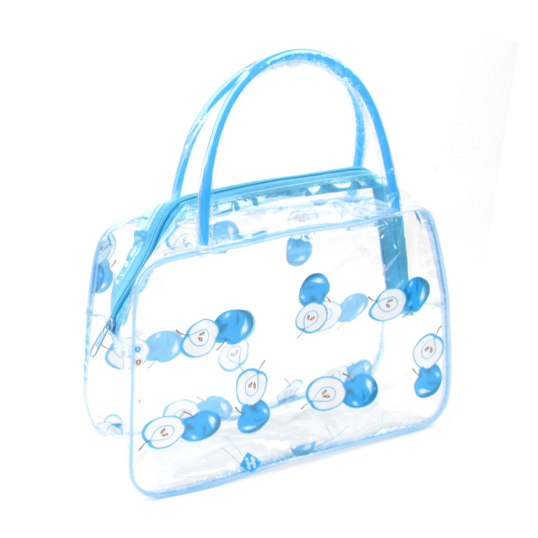 Lady Portable Apple Print Light Blue Clear Plastic Cosmetic Makeup Bag Case