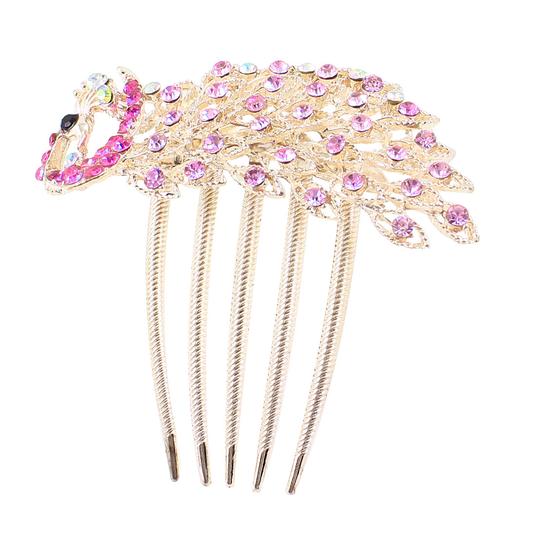 Pale Purple Rhinestones Detailing Peacock Shape Gold Tone Metal Hair Comb Clip