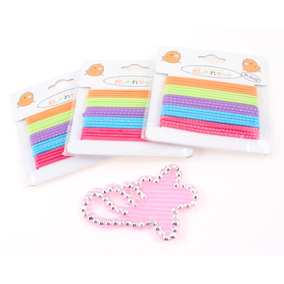 3 Packs Colorful Elastic Band Ponytail Holder Hairband w Fringe Hair Sticker